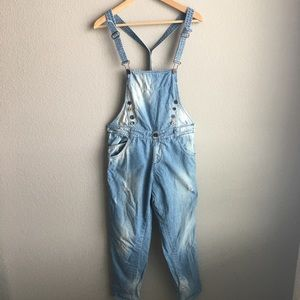 Zara Pants - Zara blue denim overalls size small VERY RARE ITEM